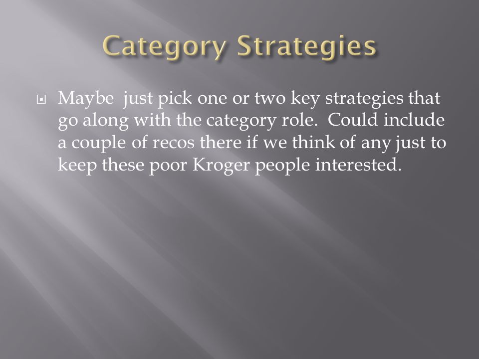  Maybe just pick one or two key strategies that go along with the category role.
