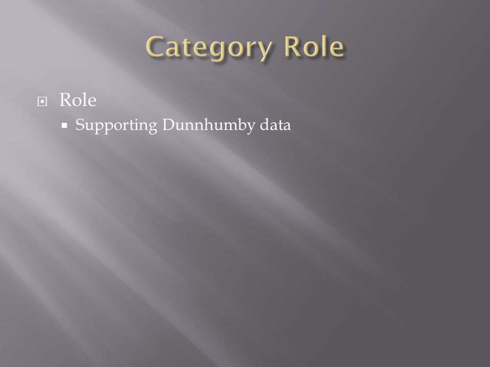  Role  Supporting Dunnhumby data