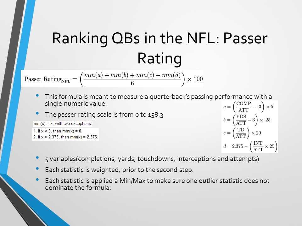 Advantages and Flaws of Passer Rating Pros: Provides a quick and easy way of evaluating quarterback performance based on a standard formula.