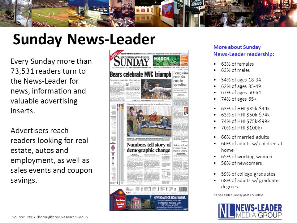 Sunday News-Leader Every Sunday more than 73,531 readers turn to the News-Leader for news, information and valuable advertising inserts. Advertisers r