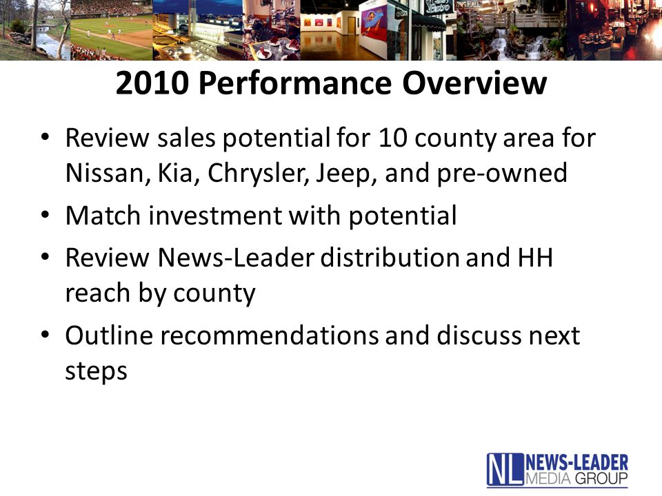 2010 Performance Overview Review sales potential for 10 county area for Nissan, Kia, Chrysler, Jeep, and pre-owned Match investment with potential Review News-Leader distribution and HH reach by county Outline recommendations and discuss next steps