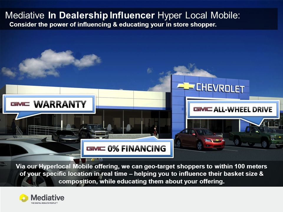 Mediative In Dealership Influencer Hyper Local Mobile: Consider the power of influencing & educating your in store shopper.