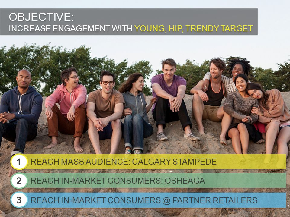 OBJECTIVE: INCREASE ENGAGEMENT WITH YOUNG, HIP, TRENDY TARGET OBJECTIVE: INCREASE ENGAGEMENT WITH YOUNG, HIP, TRENDY TARGET REACH MASS AUDIENCE: CALGA