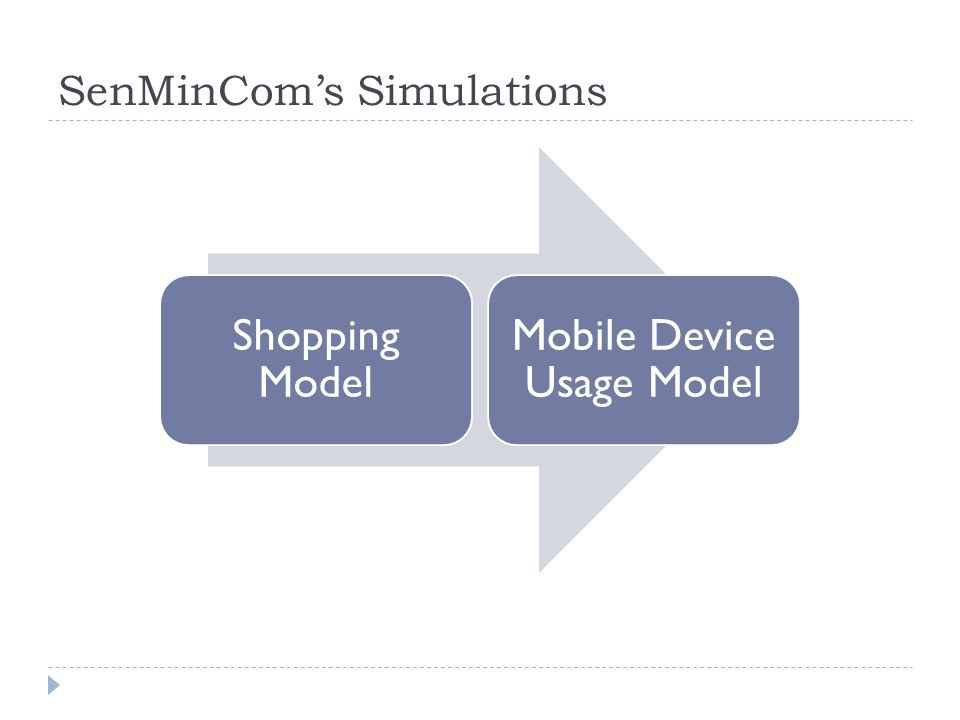 SenMinCom's Simulations Shopping Model Mobile Device Usage Model