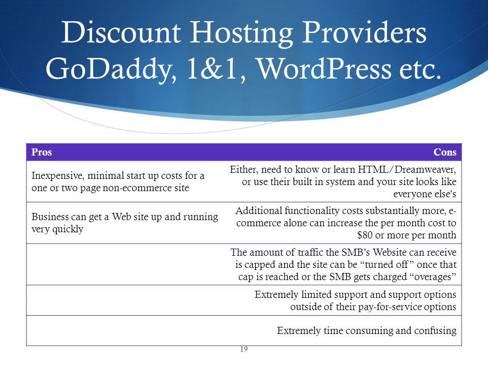 Discount Hosting Providers GoDaddy, 1&1, WordPress etc.