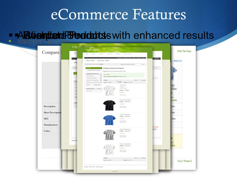 eCommerce Features  Shopper Account 34  Compare Products  Wishlist  Reorder Products  Advanced Search – with enhanced results V-neck