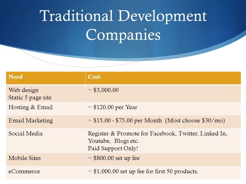 Traditional Development Companies NeedCost Web design Static 5 page site ~ $3,000.00 Hosting & Email~ $120.00 per Year Email Marketing~ $15.00 - $75.00 per Month (Most choose $30/mo) Social MediaRegister & Promote for Facebook, Twitter, Linked In, Youtube, Blogs etc.