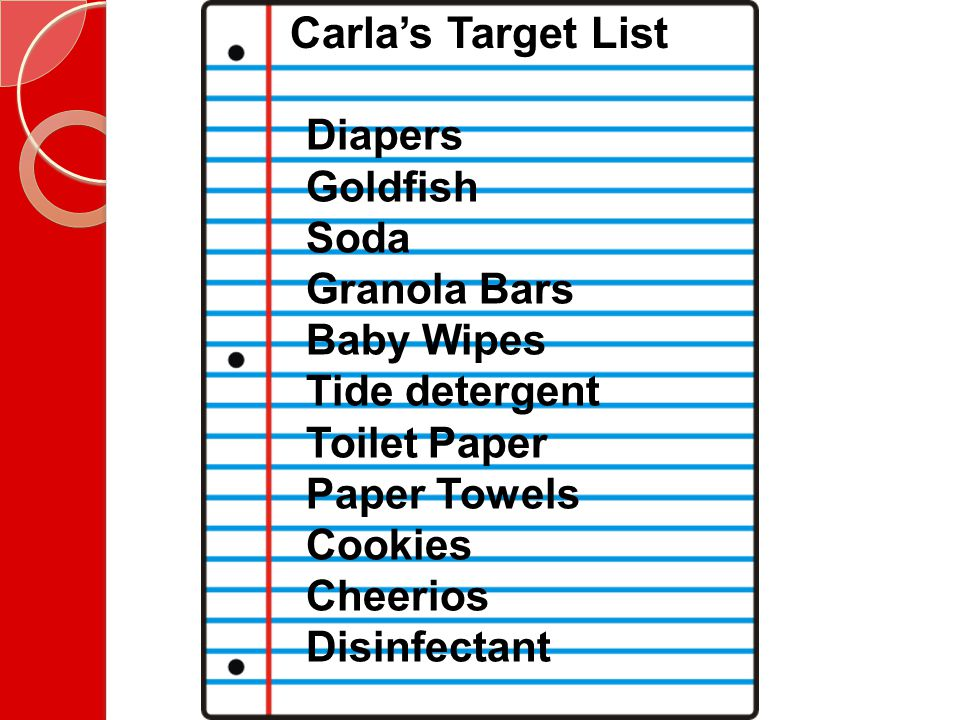 Carla's Target List Diapers Goldfish Soda Granola Bars Baby Wipes Tide detergent Toilet Paper Paper Towels Cookies Cheerios Disinfectant