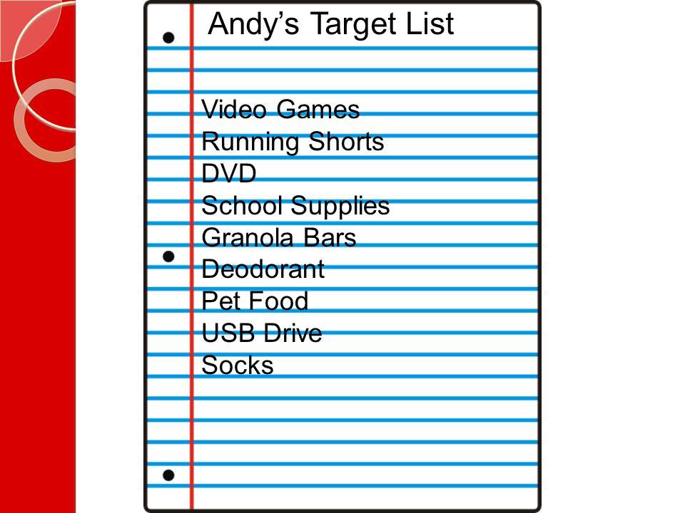 Andy's Target List Video Games Running Shorts DVD School Supplies Granola Bars Deodorant Pet Food USB Drive Socks
