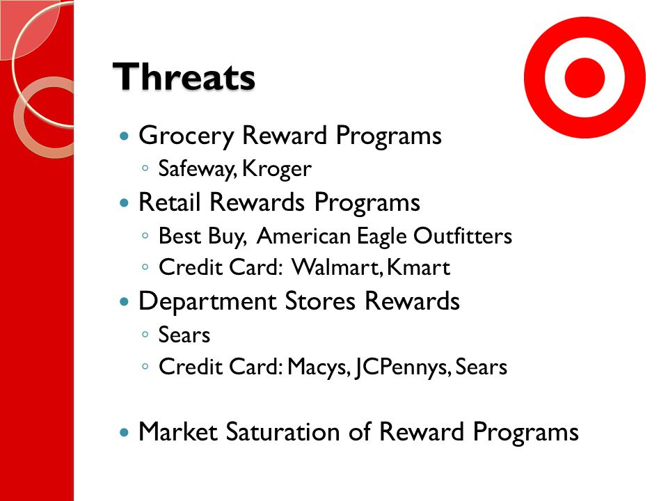 Threats Grocery Reward Programs ◦ Safeway, Kroger Retail Rewards Programs ◦ Best Buy, American Eagle Outfitters ◦ Credit Card: Walmart, Kmart Department Stores Rewards ◦ Sears ◦ Credit Card: Macys, JCPennys, Sears Market Saturation of Reward Programs