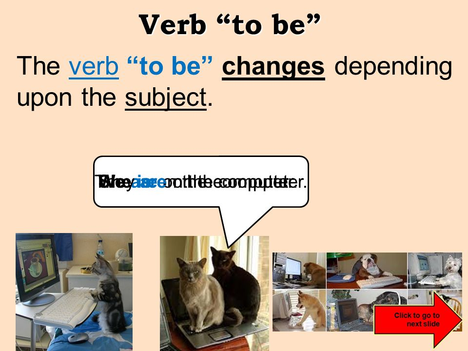 Verb to be The verb to be changes depending upon the subject.