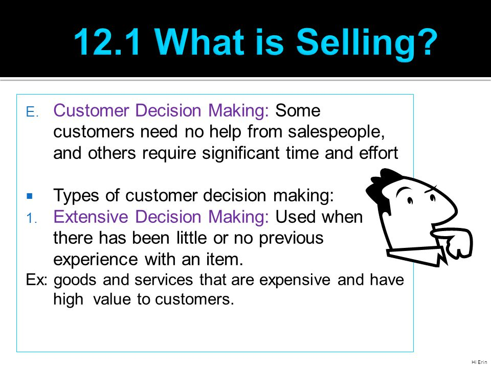 Types of customer decision making cont.2.