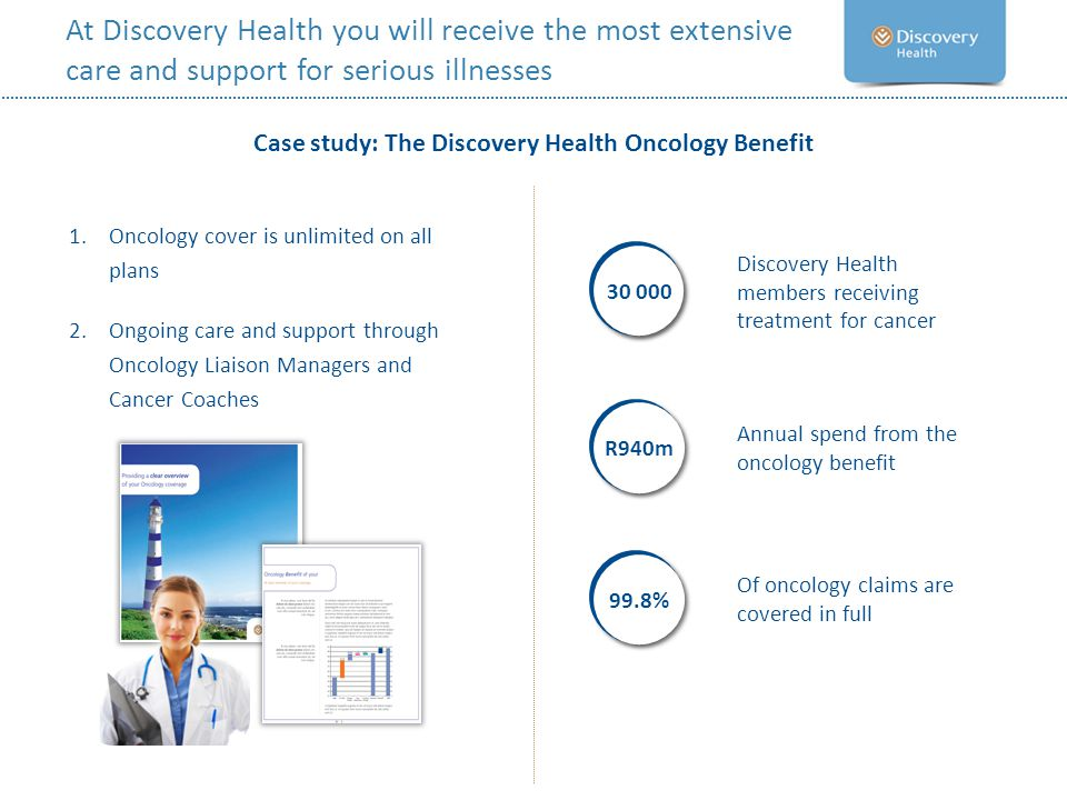 At Discovery Health you will receive the most extensive care and support for serious illnesses Case study: The Discovery Health Oncology Benefit Of on