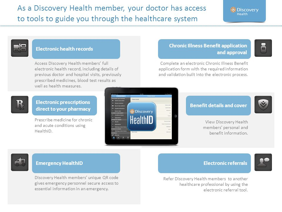 As a Discovery Health member, your doctor has access to tools to guide you through the healthcare system Electronic health records Chronic Illness Ben