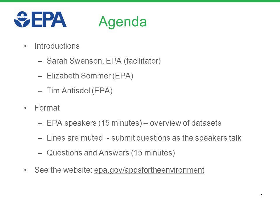 Agenda Introductions –Sarah Swenson, EPA (facilitator) –Elizabeth Sommer (EPA) –Tim Antisdel (EPA) Format –EPA speakers (15 minutes) – overview of dat