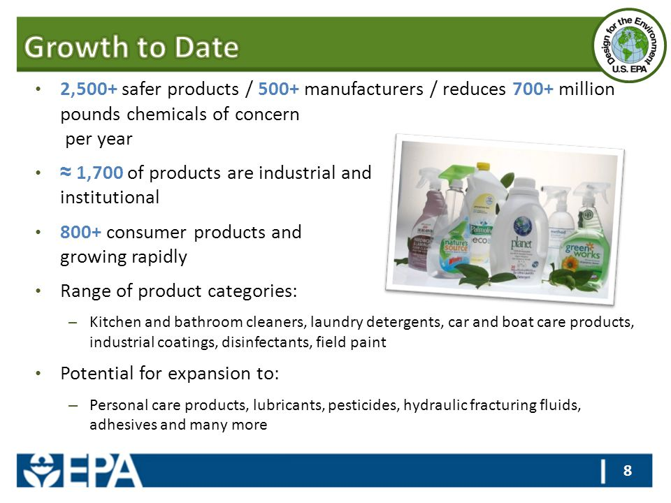 2,500+ safer products / 500+ manufacturers / reduces 700+ million pounds chemicals of concern per year ≈ 1,700 of products are industrial and institut