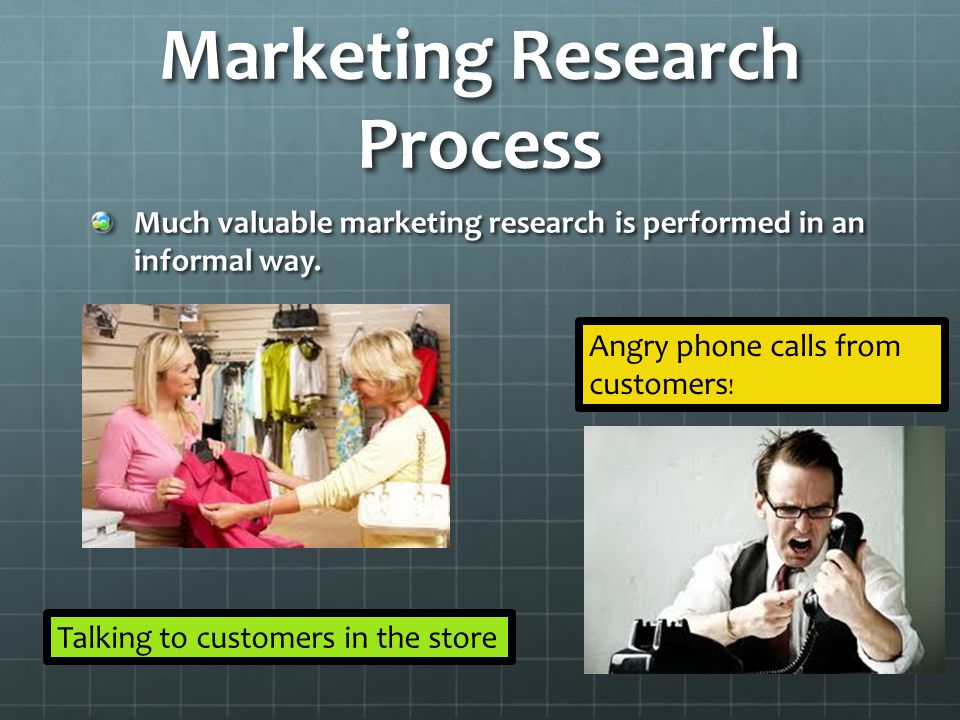 Marketing Research Process Much valuable marketing research is performed in an informal way. Talking to customers in the store Angry phone calls from