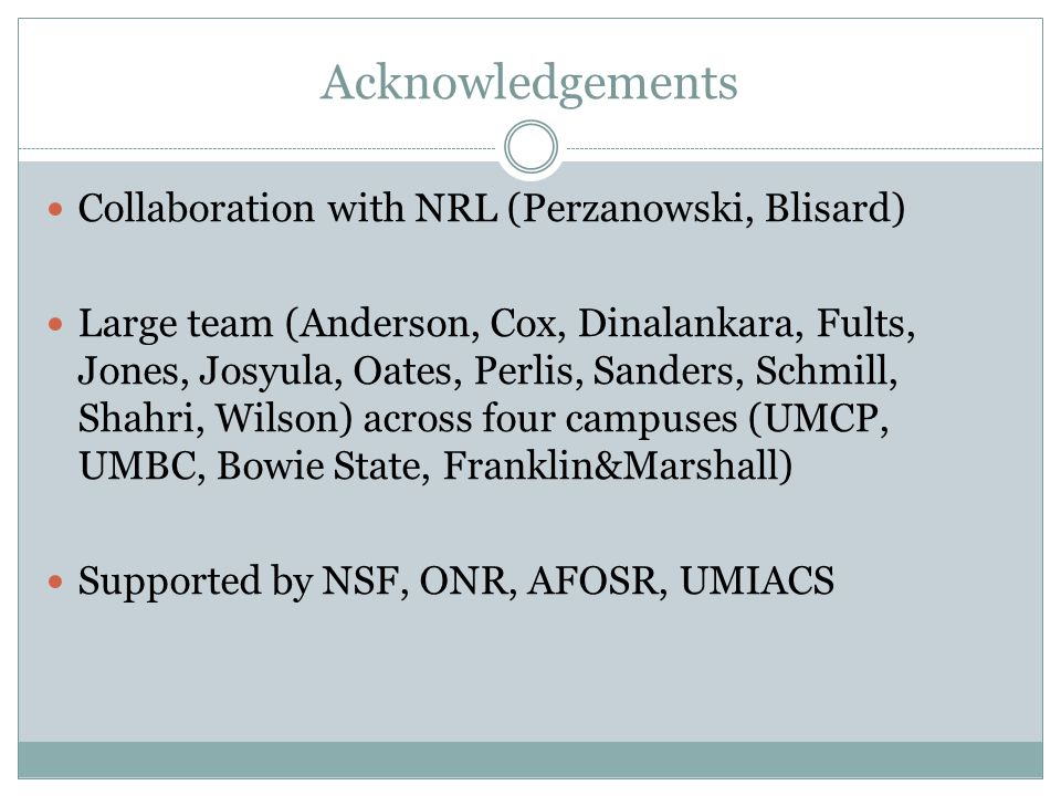 Acknowledgements Collaboration with NRL (Perzanowski, Blisard) Large team (Anderson, Cox, Dinalankara, Fults, Jones, Josyula, Oates, Perlis, Sanders, Schmill, Shahri, Wilson) across four campuses (UMCP, UMBC, Bowie State, Franklin&Marshall) Supported by NSF, ONR, AFOSR, UMIACS