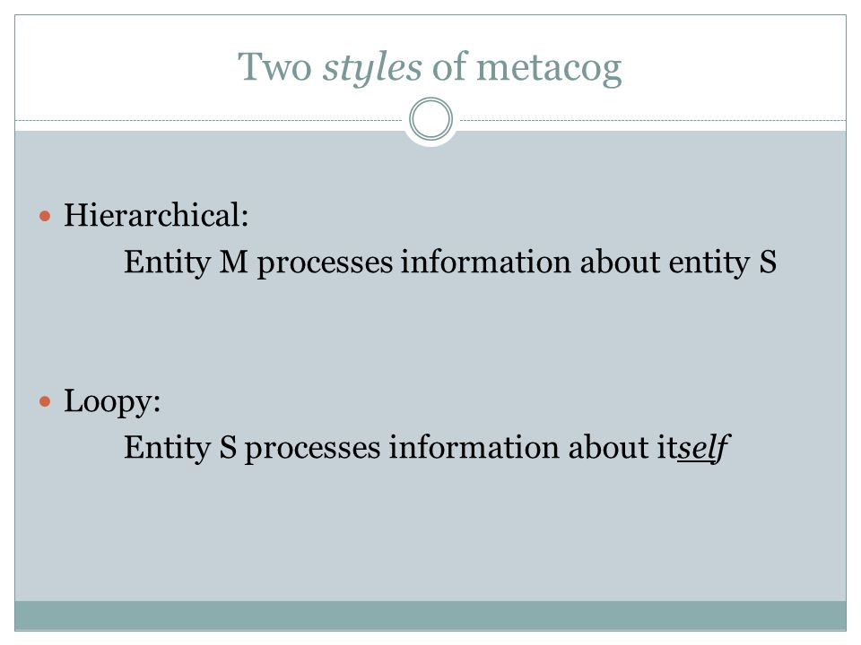 Metacog in Logic To be consistent or not to be consistent.
