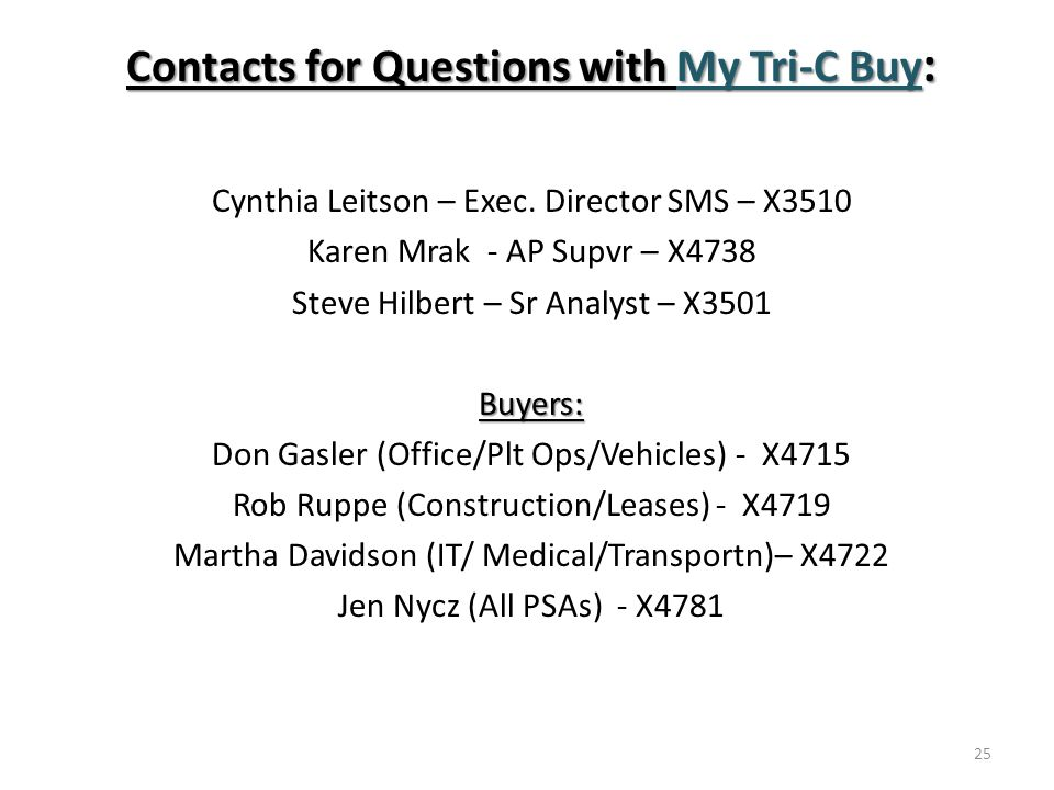 Contacts for Questions with My Tri-C Buy : Cynthia Leitson – Exec.
