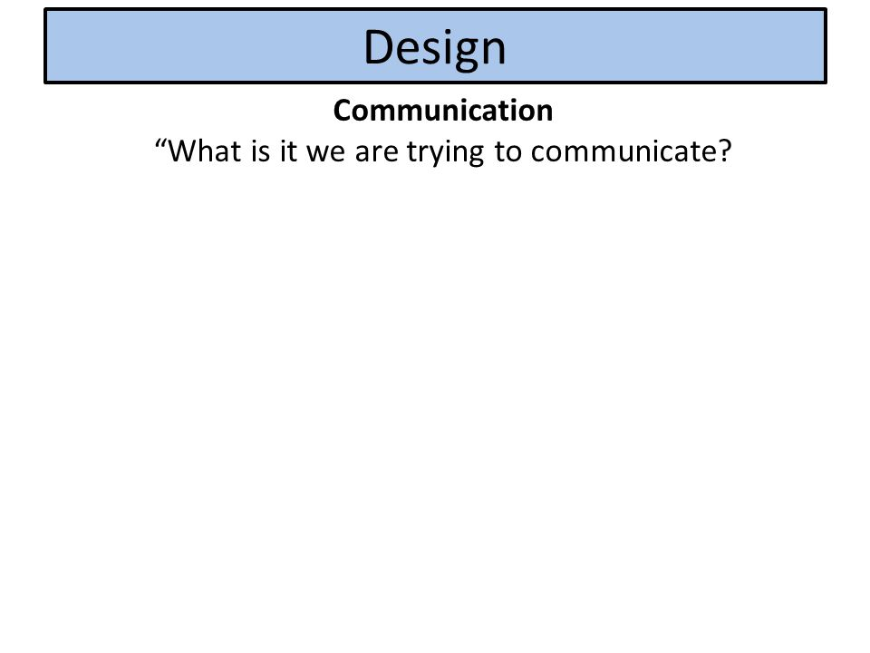 Design Communication What is it we are trying to communicate?