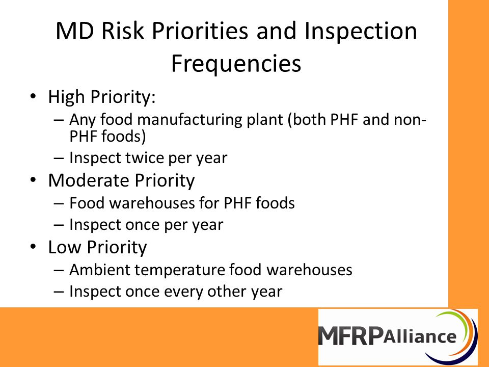 MD Risk Priorities and Inspection Frequencies High Priority: – Any food manufacturing plant (both PHF and non- PHF foods) – Inspect twice per year Moderate Priority – Food warehouses for PHF foods – Inspect once per year Low Priority – Ambient temperature food warehouses – Inspect once every other year