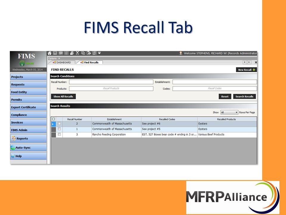FIMS Recall Tab