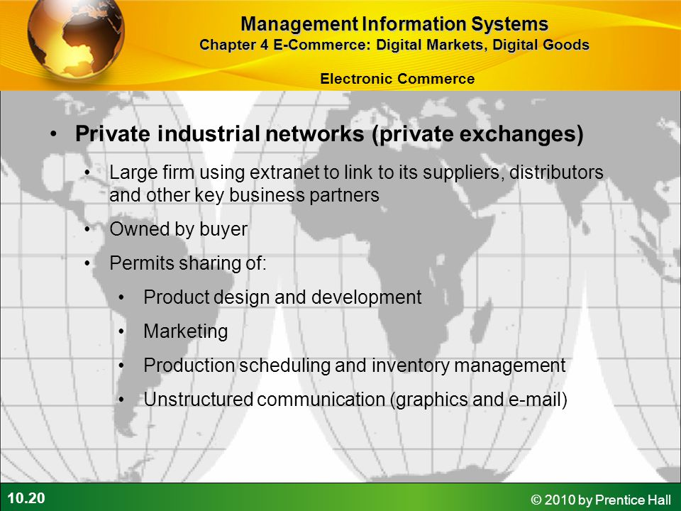 10.20 © 2010 by Prentice Hall Private industrial networks (private exchanges) Large firm using extranet to link to its suppliers, distributors and oth