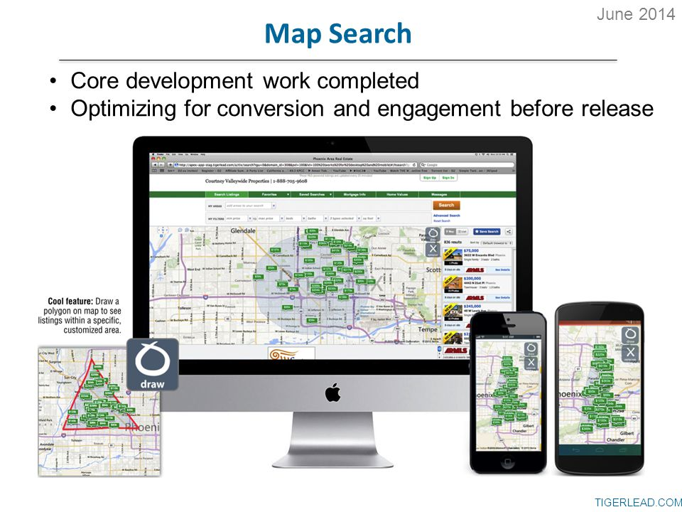 TIGERLEAD.COM Map Search Core development work completed Optimizing for conversion and engagement before release June 2014