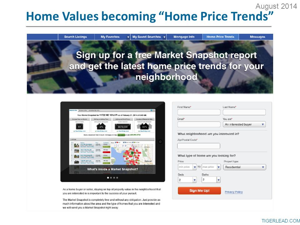 TIGERLEAD.COM Home Values becoming Home Price Trends August 2014