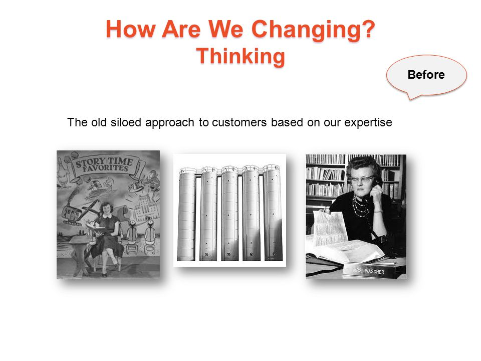 How Are We Changing? Thinking 12 Before The old siloed approach to customers based on our expertise