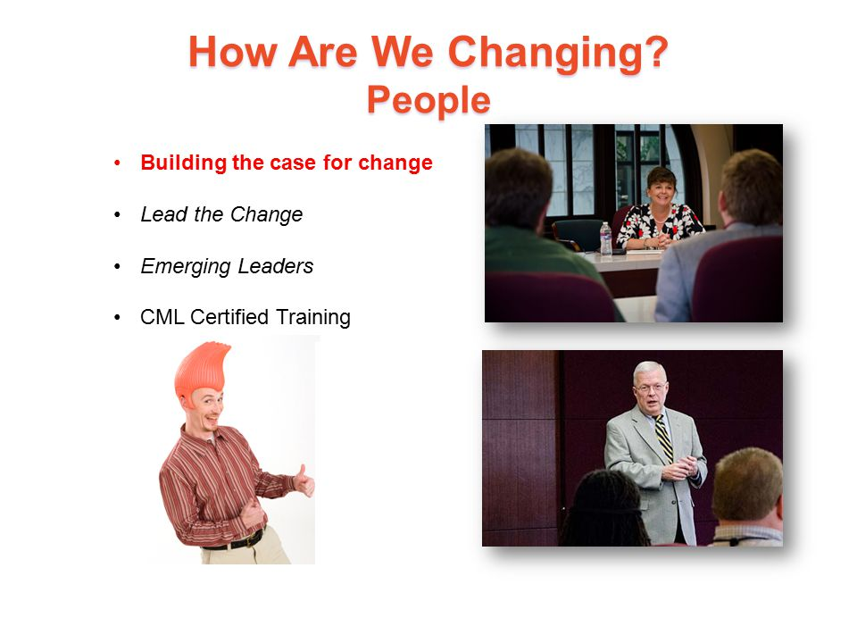 How Are We Changing? People 14 Building the case for change Lead the Change Emerging Leaders CML Certified Training
