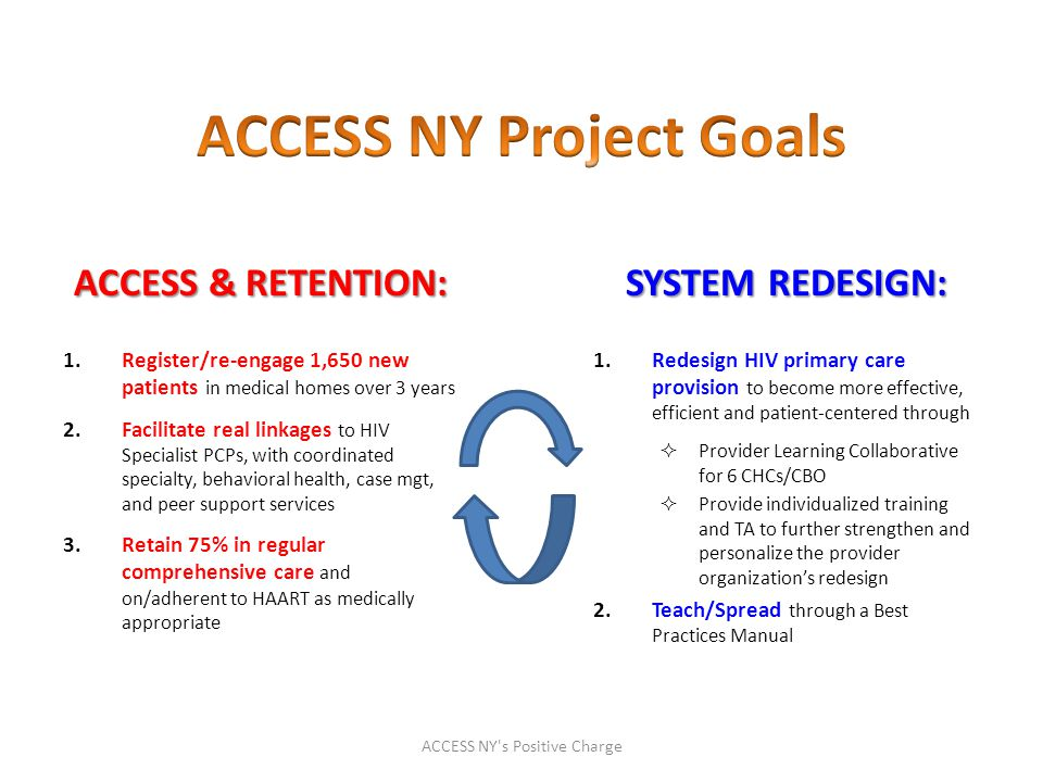 ACCESS & RETENTION: 1.Register/re-engage 1,650 new patients in medical homes over 3 years 2.Facilitate real linkages to HIV Specialist PCPs, with coordinated specialty, behavioral health, case mgt, and peer support services 3.Retain 75% in regular comprehensive care and on/adherent to HAART as medically appropriate SYSTEM REDESIGN: 1.Redesign HIV primary care provision to become more effective, efficient and patient-centered through  Provider Learning Collaborative for 6 CHCs/CBO  Provide individualized training and TA to further strengthen and personalize the provider organization's redesign 2.Teach/Spread through a Best Practices Manual ACCESS NY s Positive Charge