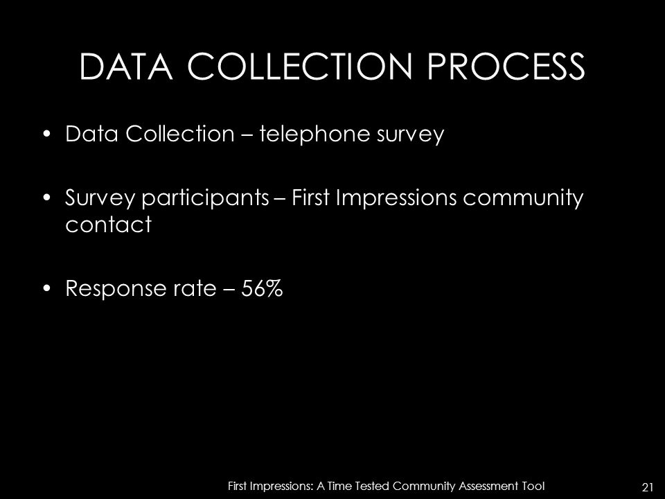 DATA COLLECTION PROCESS Data Collection – telephone survey Survey participants – First Impressions community contact Response rate – 56% First Impress