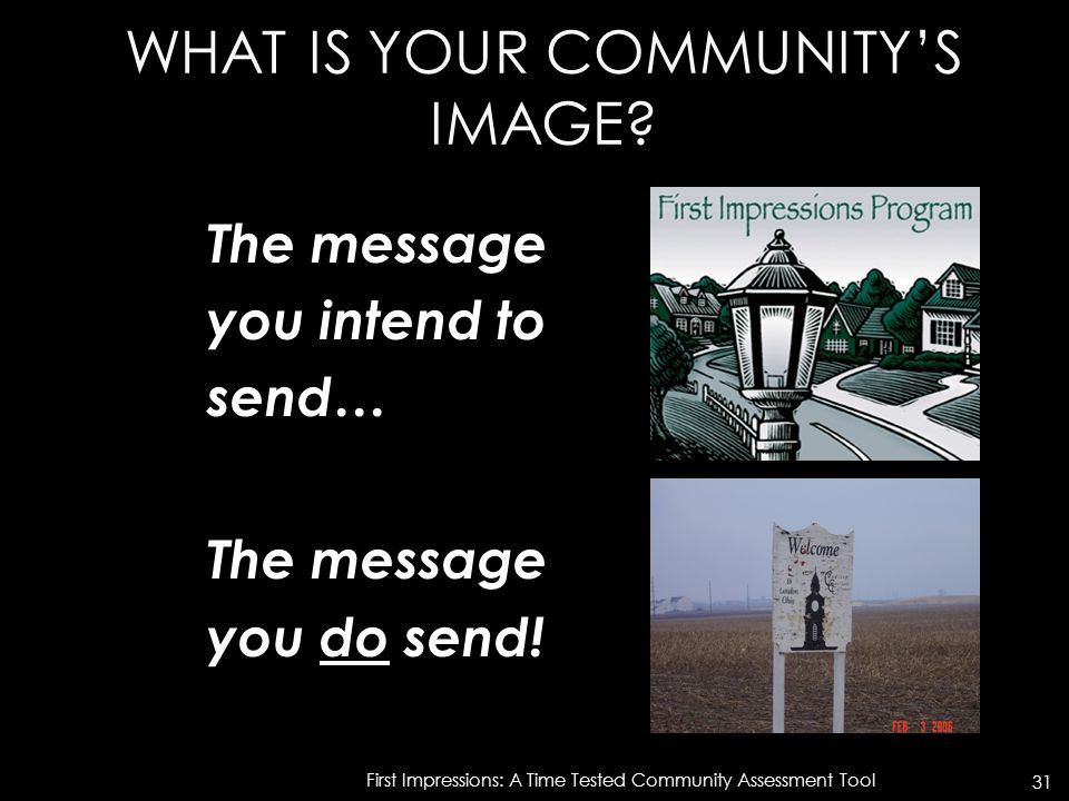 WHAT IS YOUR COMMUNITY'S IMAGE. The message you intend to send… The message you do send.