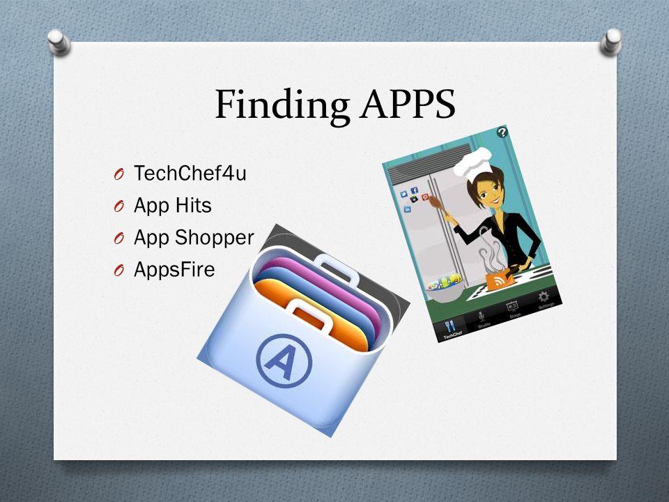 Finding APPS O TechChef4u O App Hits O App Shopper O AppsFire