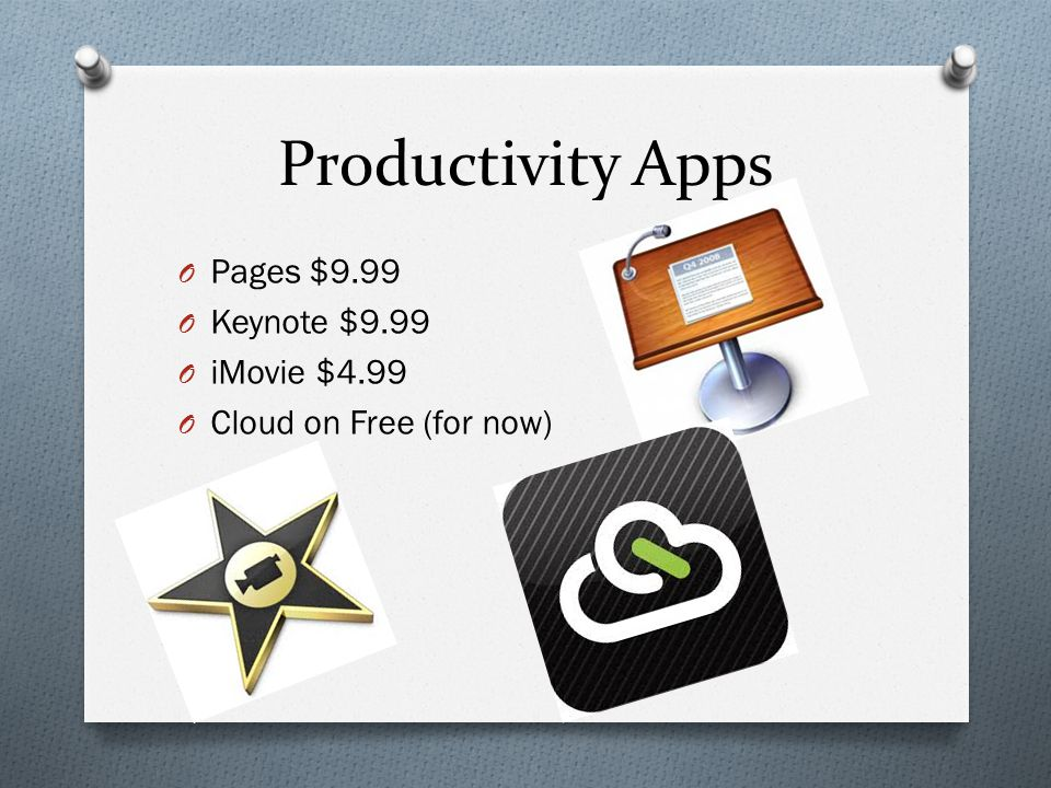 Productivity Apps O Pages $9.99 O Keynote $9.99 O iMovie $4.99 O Cloud on Free (for now)