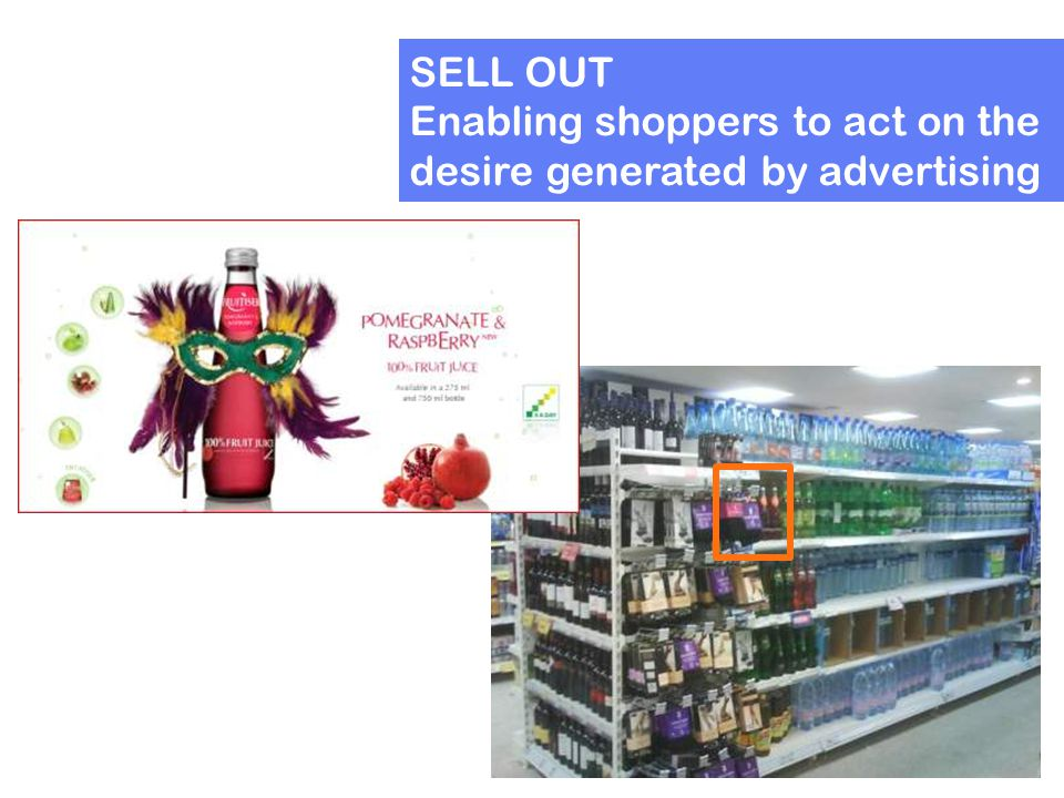 SELL OUT Enabling shoppers to act on the desire generated by advertising