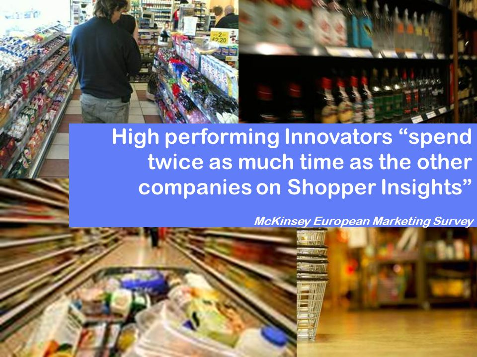 High performing Innovators spend twice as much time as the other companies on Shopper Insights McKinsey European Marketing Survey
