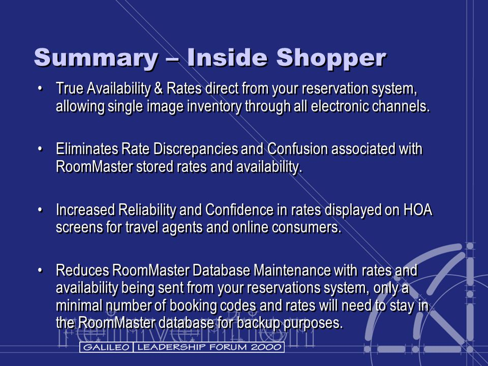 Summary – Inside Shopper True Availability & Rates direct from your reservation system, allowing single image inventory through all electronic channel
