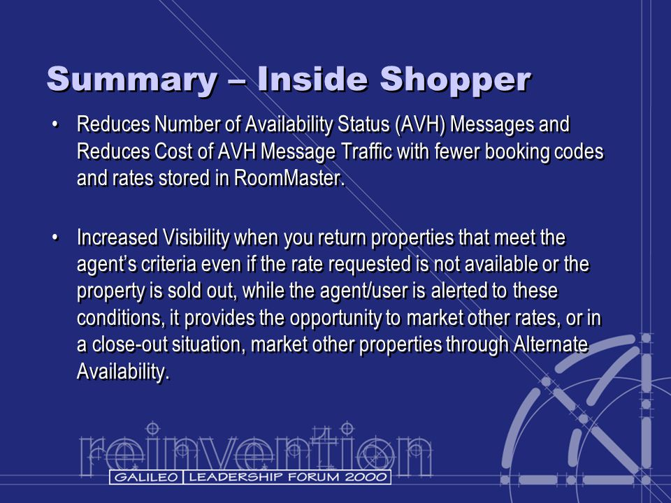 Summary – Inside Shopper Reduces Number of Availability Status (AVH) Messages and Reduces Cost of AVH Message Traffic with fewer booking codes and rat