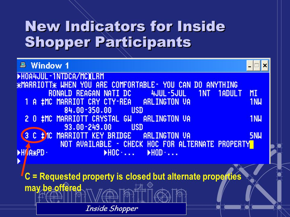 New Indicators for Inside Shopper Participants Inside Shopper C = Requested property is closed but alternate properties may be offered
