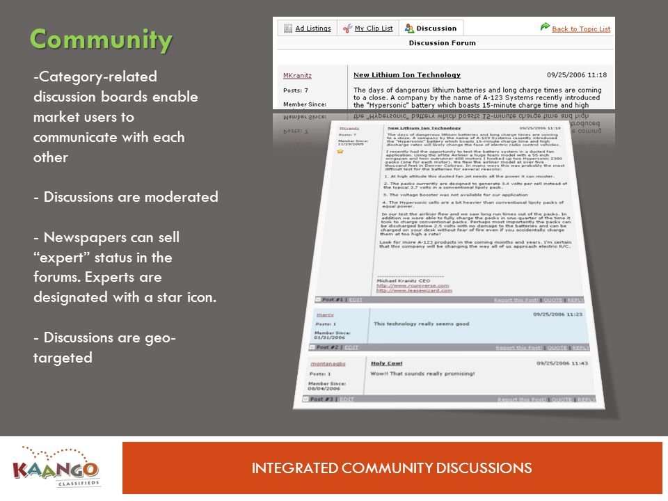 INTEGRATED COMMUNITY DISCUSSIONS -Category-related discussion boards enable market users to communicate with each other - Discussions are moderated - Newspapers can sell expert status in the forums.