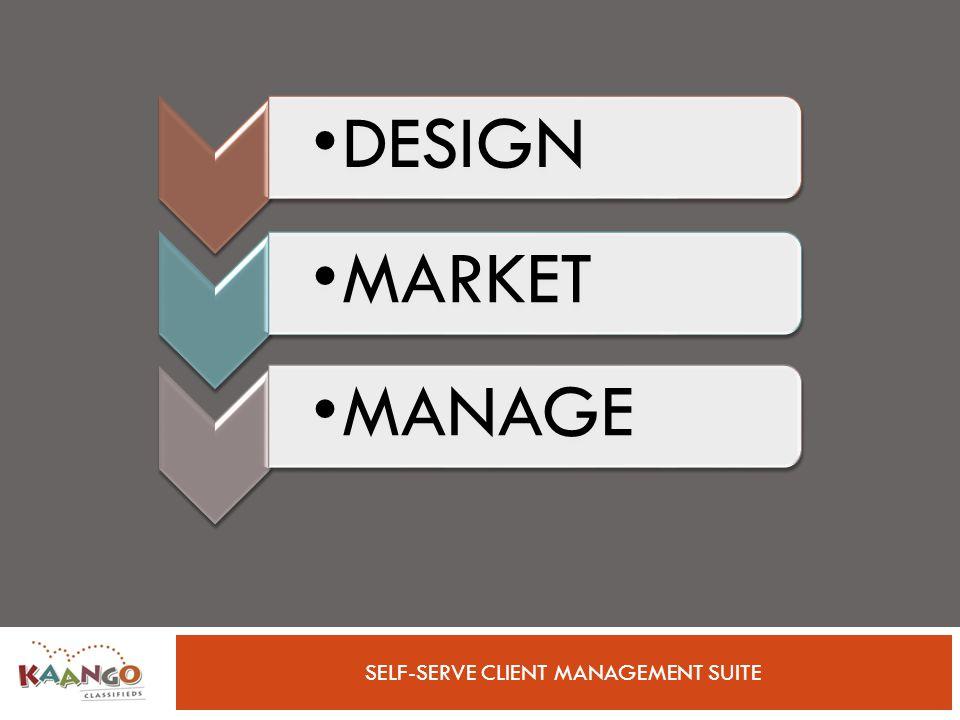 SELF-SERVE CLIENT MANAGEMENT SUITE DESIGN MARKET MANAGE