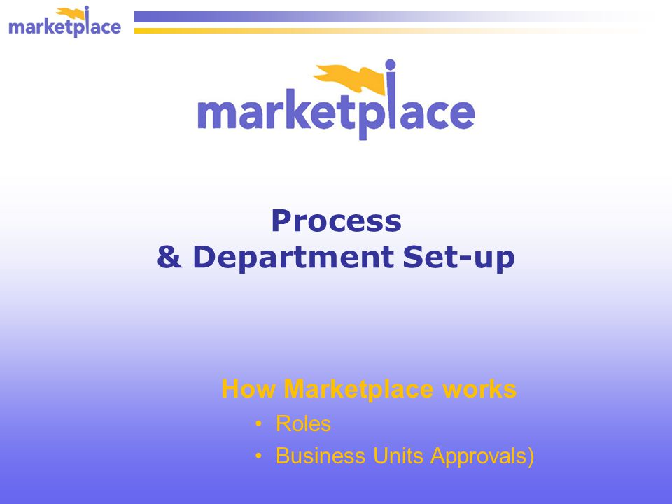 Process & Department Set-up How Marketplace works Roles Business Units Approvals)