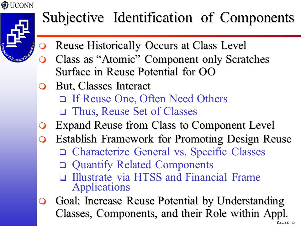 REUSE--15 Subjective Identification of Components  Reuse Historically Occurs at Class Level  Class as Atomic Component only Scratches Surface in Reuse Potential for OO  But, Classes Interact  If Reuse One, Often Need Others  Thus, Reuse Set of Classes  Expand Reuse from Class to Component Level  Establish Framework for Promoting Design Reuse  Characterize General vs.