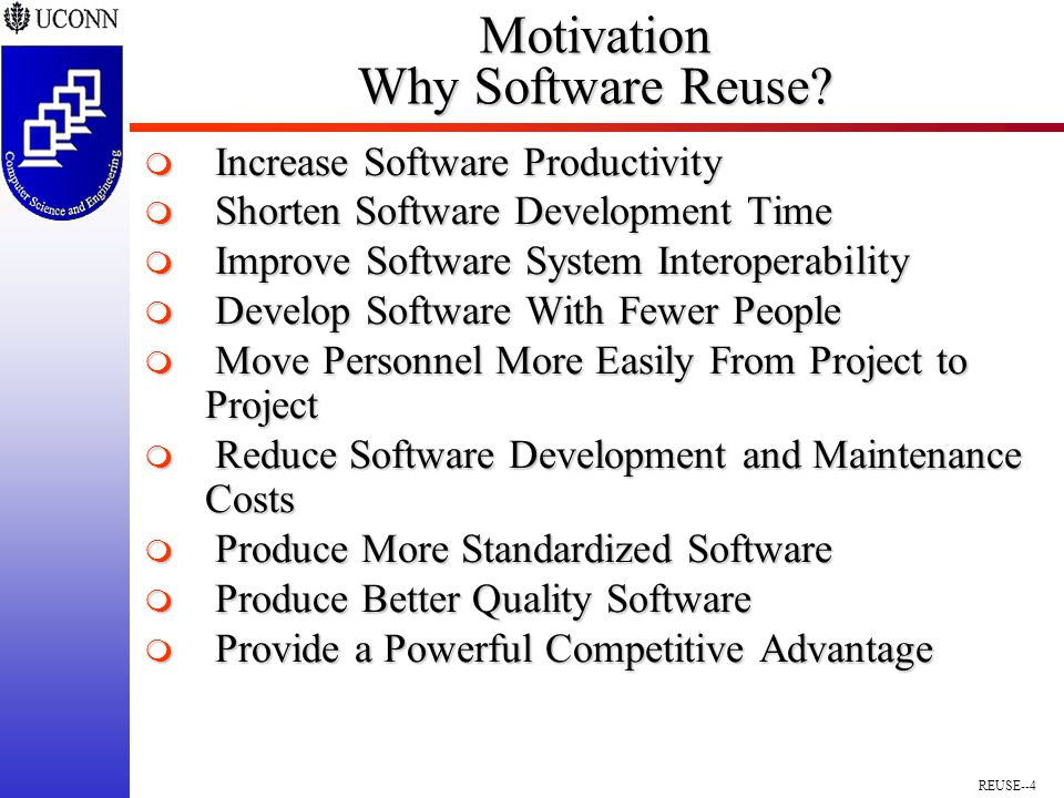 REUSE--4 Motivation Why Software Reuse.