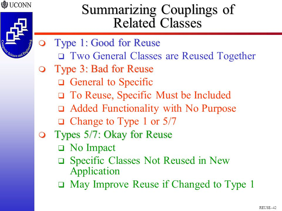 REUSE--42 Summarizing Couplings of Related Classes  Type 1: Good for Reuse  Two General Classes are Reused Together  Type 3: Bad for Reuse  General to Specific  To Reuse, Specific Must be Included  Added Functionality with No Purpose  Change to Type 1 or 5/7  Types 5/7: Okay for Reuse  No Impact  Specific Classes Not Reused in New Application  May Improve Reuse if Changed to Type 1