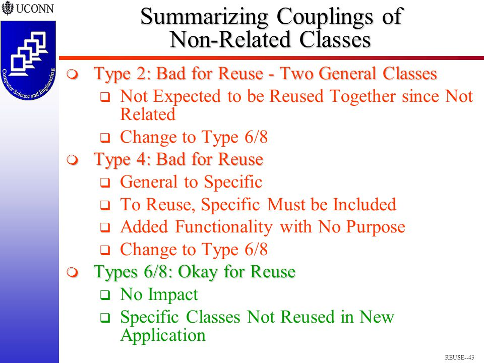 REUSE--43 Summarizing Couplings of Non-Related Classes  Type 2: Bad for Reuse - Two General Classes  Not Expected to be Reused Together since Not Related  Change to Type 6/8  Type 4: Bad for Reuse  General to Specific  To Reuse, Specific Must be Included  Added Functionality with No Purpose  Change to Type 6/8  Types 6/8: Okay for Reuse  No Impact  Specific Classes Not Reused in New Application