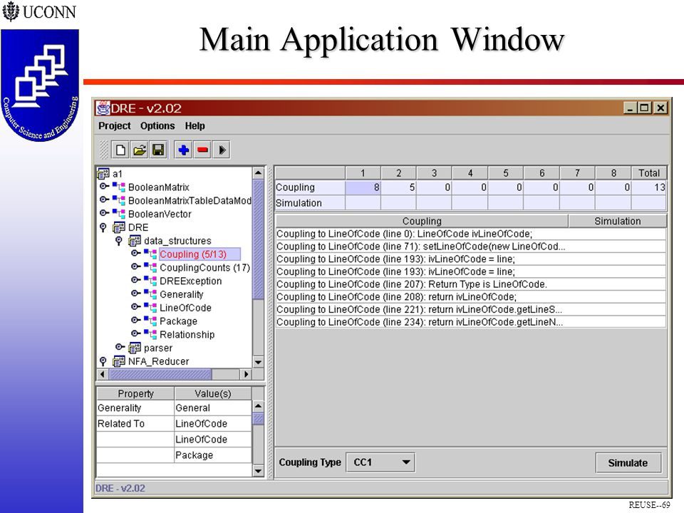 REUSE--69 Main Application Window